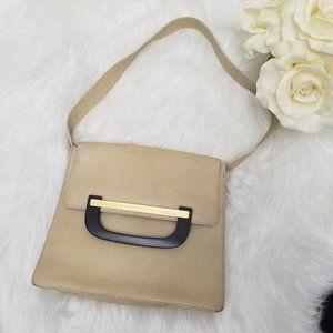 Authentic Gucci Shoulder Bag Cream Leather Flap